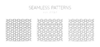 Vector seamless geometric patterns collection with editable stro Royalty Free Stock Photos