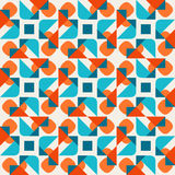 Vector Seamless Geometric Rounded Triangle Shapes Square  Teal Orange Pattern On White Background Royalty Free Stock Photos