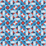 Vector Seamless Geometric Square Pattern in Blue White and Red Stock Photography