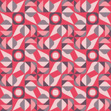Vector Seamless Geometric Square Triangle Circle Shapes Red Brown Tan Color Quilt Ethnic Pattern Stock Image