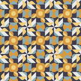 Vector Seamless Geometric Square Triangle Circle Shapes Yellow Blue Quilt Ethnic Pattern Royalty Free Stock Image