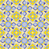 Vector Seamless Geometric Square Triangle Circle Shapes Yellow Blue Quilt Pattern Royalty Free Stock Images