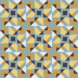 Vector Seamless Geometric Square Triangle Circle Shapes Yellow Blue Quilt Pattern Stock Photos