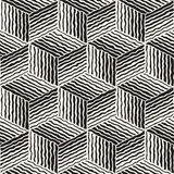 Vector Seamless Geometric Stripes Cube Pattern. Vector Seamless Black And White Hand Painted Line Geometric Stripes Cube Pattern  Abstract Background Royalty Free Stock Image