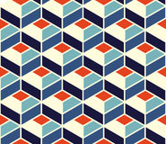 Vector Seamless Geometric Tiling Pattern In Blue and Orange Colors With White Outline Stock Images