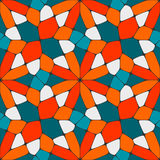 Vector Seamless Geometric Tiling Pattern in Teal and Orange Stock Image