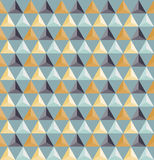 Vector Seamless Geometric Triangle Grid Pattern Shaded in Blue And Yellow Colors Royalty Free Stock Photo