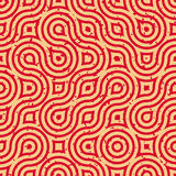 Vector Seamless Geometric Wavy Lines Irregular Retro Grungy Red Tan Pattern Royalty Free Stock Photos