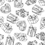 Vector seamless gift box pattern. Hand drawn illustrations. Stock Photography