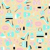 Vector seamless of glamor stickers and labeles. Vector pattern of glamor stickers and labeles Royalty Free Stock Photography