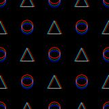 Vector Seamless Glitch Pattern . Color On Black Background. Triangle And Circle. Digital Pixel Noise Abstract Design Stock Image