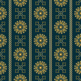 Vector seamless gold vintage ornamental pattern on dark blue background Stock Images