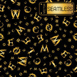 Vector seamless gold vintage pattern with curved letters on black background Stock Image