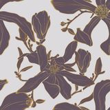 Vector seamless golden floral pattern with magnolia flowers and leaves. Marriage engagement, gold background royalty free illustration
