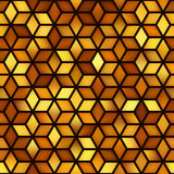 Vector Seamless Golden Shades Gradient Cube Shape Rhombus Grid Geometric Pattern Stock Image