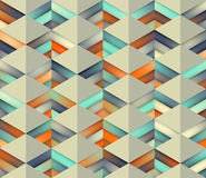 Vector Seamless Gradient Mesh Color Stripes Triangles Grid in Shades of Teal and Orange on Light Background Stock Images