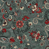 Vector seamless gray and red floral pattern Royalty Free Stock Photography
