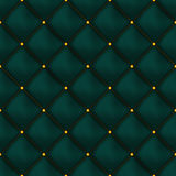 Vector seamless green buttoned leather pattern . Upholstery or walls. Royalty Free Stock Photography