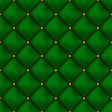 Vector seamless green buttoned leather pattern . Upholstery or walls. Royalty Free Stock Images