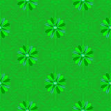 Vector seamless green floral background. And geometric pattern Royalty Free Stock Photography
