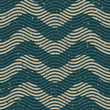 Vector Seamless Green Grey Color Hand Drawn Wavy Lines Retro Pattern Royalty Free Stock Image