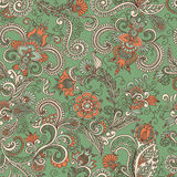 Vector seamless green and orange floral pattern Stock Photography