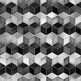 Vector Seamless Greyscale Gradient Cube Shape Rhombus Grid Geometric Pattern Stock Photos