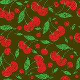 Vector seamless grunge pattern with cherries Royalty Free Stock Photo