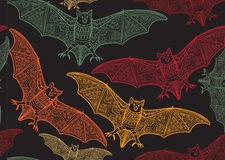 Vector seamless halloween pattern with bat Stock Images