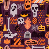 Vector seamless Halloween pattern with hand drawn doodle pumpkin, skull, witch hat, bones, candies, spider, ghost, broom Stock Image
