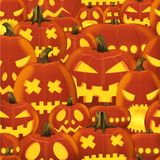 Vector seamless Halloween pattern with set of scary horror realistic pumpkins. Vector seamless Halloween pattern with set of scary horror realistic pumpkins Royalty Free Stock Image