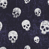 Vector seamless halloween pattern with skulls. Grunge style, sha Stock Photography