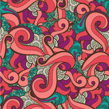 Vector seamless hand drawn abstract swirl floral Stock Image