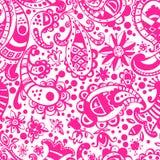Vector seamless hand drawn colorful kawaii pattern with decorati Stock Photos