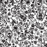 Vector seamless hand drawn colorful kawaii pattern with decorati Royalty Free Stock Photos