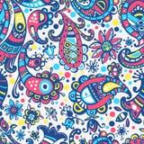 Vector seamless hand drawn colorful kawaii pattern Royalty Free Stock Images