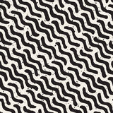 Vector Seamless Hand Drawn Daigonal Wavy Lines Grungy Pattern. Vector Seamless Black And White Hand Drawn Daigonal Wavy Lines Grungy Pattern. Abstract Freehand Royalty Free Stock Image