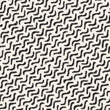 Vector Seamless Hand Drawn Daigonal Wavy Lines Grungy Pattern Stock Images