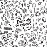 Vector seamless hand drawn doodle pattern with different school Stock Image