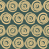Vector Seamless Hand Drawn Geometric Lines Circular Round Tiles Retro Grungy Green Tan Color Pattern Stock Images