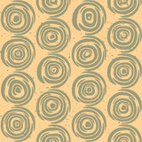 Vector Seamless Hand Drawn Geometric Lines Circular Round Tiles Retro Grungy Green and Tan Color Pattern Stock Images