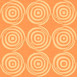 Vector Seamless Hand Drawn Geometric Lines Circular Round Tiles Retro Grungy Orange Tan Color Pattern Royalty Free Stock Image
