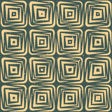 Vector Seamless Hand Drawn Geometric Lines Square Tiles Retro Grungy Green Tan Color Pattern Royalty Free Stock Image