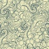 Vector seamless hand drawn natural decorative floral ornamental pattern.  Stock Photo