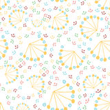 Vector seamless hand drawn pattern of abstract dandelions. Stock Images
