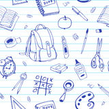Vector seamless hand drawn pattern. Back to school doodles on ruled paper. Royalty Free Stock Image