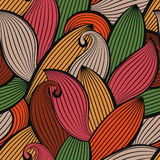 Vector seamless hand-drawn pattern of colored autumn leaves Royalty Free Stock Image