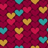 Vector seamless hand-drawn pattern with colorful hearts. Valenti Royalty Free Stock Photos