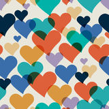 Vector seamless hand-drawn pattern with colorful hearts. Valenti Stock Photos