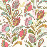Vector seamless hand-drawn pattern with decorative flowers and l Royalty Free Stock Images